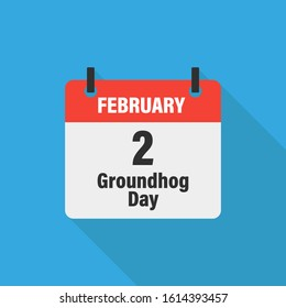 Calendar 2 February groundhog day on blue background with shadow. Vector isolated illustration. Character for report design. Weather vector illustration. Groundhog day card. EPS 10
