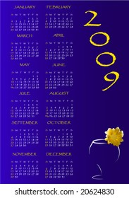 Calendar for 2009 with figure of a flower on wineglass