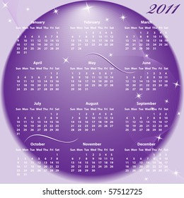 Calendar 2011 full year. January through to December months with a purple abstract background. Raster also available.