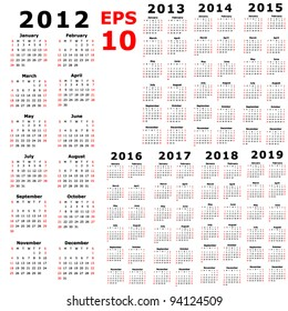 2013-2019 Calendar Calendar 2019 Images, Stock Photos & Vectors | Shutterstock