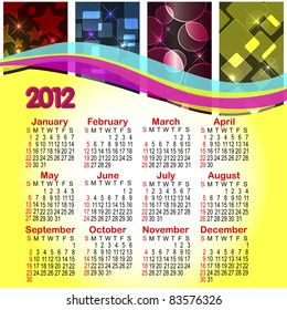 Calendar for 2012. Abstract background with bokeh. American style. 10EPS.