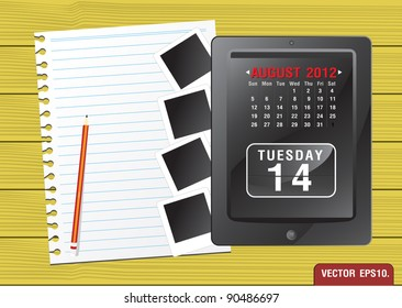 Calendar 2012 August on Fictitious touch tablet PC and paper. on yellow wood background. Vector template for design work