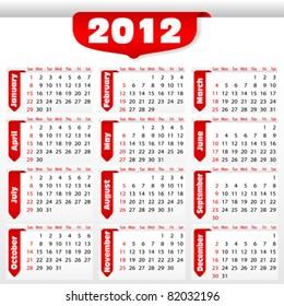 Calendar for 2012 with sticker, element for design, vector illustration