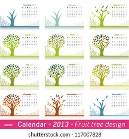 Calendar 2013 Fruit Tree Design. Choose your favorite month for your 2013 calendar. Vector isolated on white.