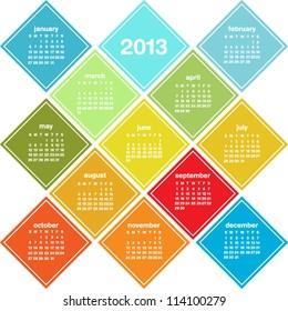 Calendar for 2013 in seasonal colors, weeks start on Sunday