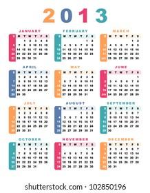 Calendar 2013 (week starts with sunday). Vector illustration.
