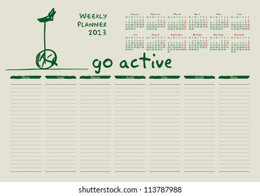 calendar for 2013, weekly planner, doodle, bicycle, green, eco
