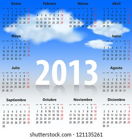 Calendar for 2013 year in Spanish with clouds in the blue sky. Mondays first. Vector illustration