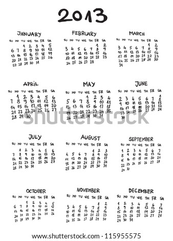 calendar 2013 year twelve month set stock vector royalty free