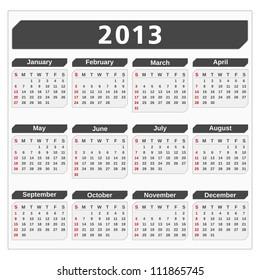Calendar for 2013 year, vector eps10 illustration