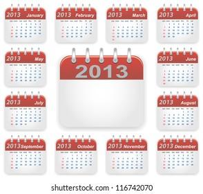 Calendar 2013 year week starts on sunday