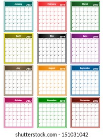 Calendar 2014 in assorted colors with large date boxes. Each month a different color.  Raster version also available.