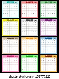 Calendar 2014 in assorted colors with large date boxes. Each month a different color. Raster also available.