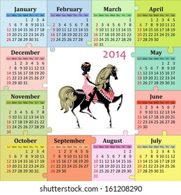 Calendar for 2014 with a beautiful girl