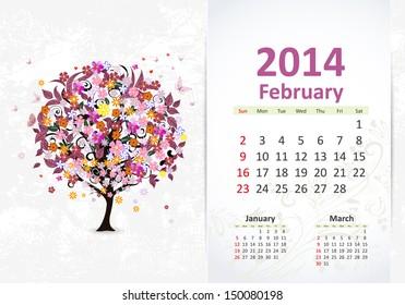 Calendar for 2014, february