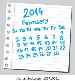 Calendar 2014 february (sketch style)