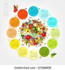 Calendar 2014 with four season bouquet for your design