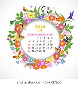 Calendar for 2014, july