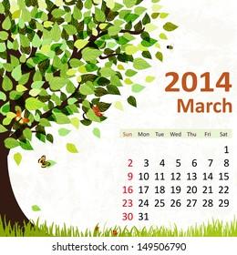 Calendar for 2014, march