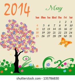 Calendar for 2014 May with flowering tree and  butterfly, vector illustration