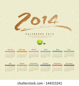 Calendar 2014 text paint brush on paper recycle background, vector illustration