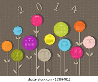 Calendar for 2014 year with flowers