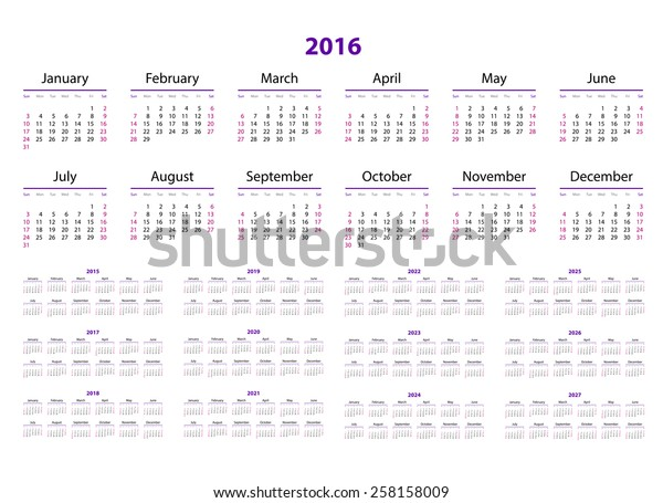 2016 2022 2023 Calendar.Calendar 2015 2016 2017 2018 2019 Stock Vector Royalty Free 258158009