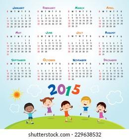 Calendar 2015. Children activities.