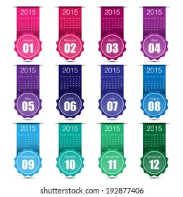 calendar 2015 colouful minimal design