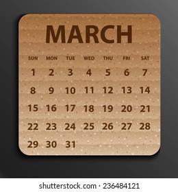 Calendar 2015 design, English, Sunday start. Vector illustration