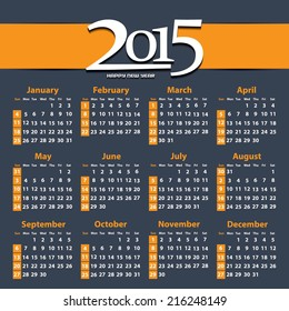 Calendar 2015 / 2015 calendar design / 2015 calendar vertical - week starts with sunday