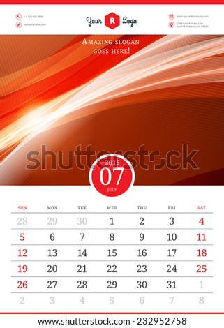 Calendar 2015 July Month Vector Template Stock Vector Royalty Free