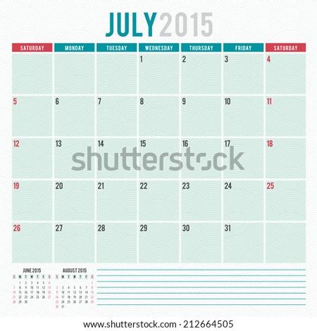 Calendar 2015 July US Version Vector Stock Vector Royalty Free