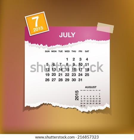 Calendar 2015 July Vintage Paper On Stock Vector Royalty Free