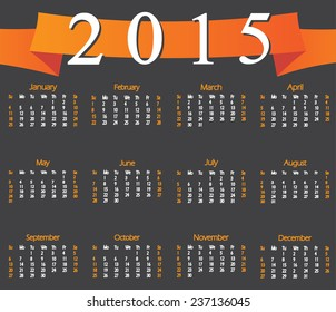 Calendar 2015 with orange ribbon. Week starts with sunday. Vector illustration.