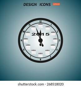 Calendar 2015  stylized clock with figures for the calendar business wall. icon. vector design