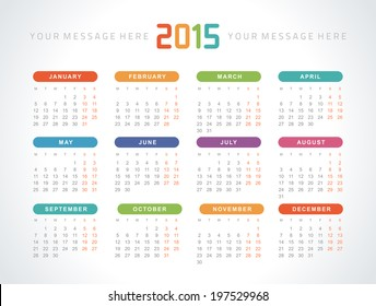 2015 calendar images stock photos vectors shutterstock calendar 2015 vector design template saigontimesfo