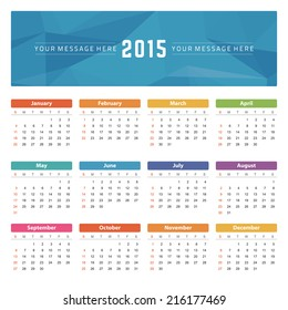 Calendar 2015 year vector design template.