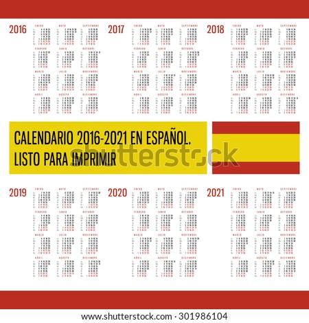 Calendar 2016 2017 2018 2019 2020 Stock Vector Royalty Free