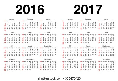 Calendar for 2016 and 2017 with white background.