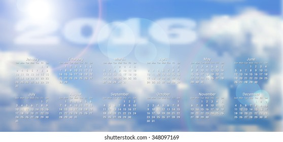 calendar 2016 with blurred clouds in background, vector illustration, eps 10 with transparency and gradient meshes