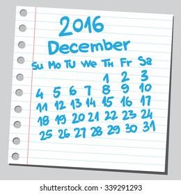 Calendar 2016 december (sketch style)