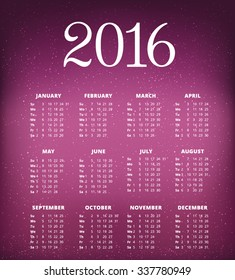 Calendar for 2016 on holiday background. Week Starts Monday