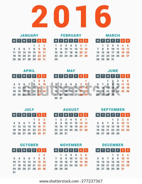 Calendar 2016 On White Background Week Stock Vector Royalty