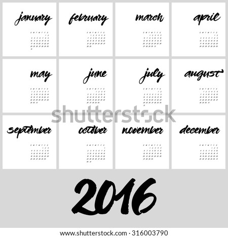Calendar 2016 Template Hand Painted Names Stock Vector Royalty Free