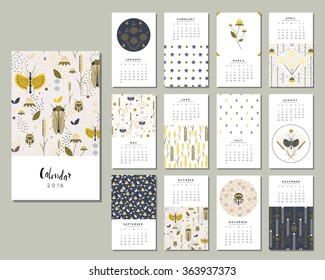 Calendar 2016. Templates with flowers, bugs and grasshoppers in a garden. Art posters, backgrounds texture with floral and nature paint. Vector.