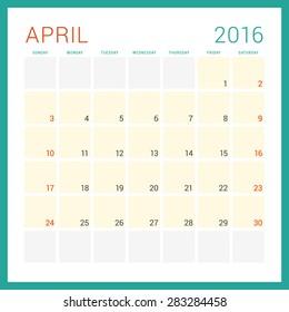 Calendar 2016. Vector Flat Design Template. April. Week Starts Sunday