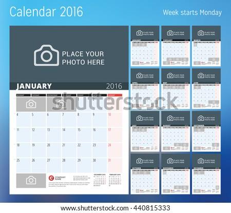 calendar 2016 year planner template vector stock vector royalty