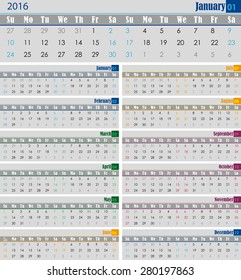 calendar for the 2016 year for print