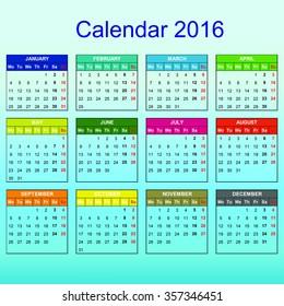 Calendar 2016 year vector design
